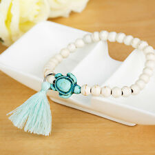 Protection Lucky Bracelet Turquoise Turtle Rope Tassel Charm Beaded Bracelet