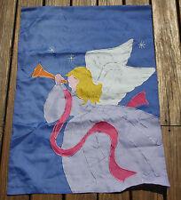 LARGE 39X28 APPLIQUE ANGEL BLOWING HORN BEACH SUMMER YARD GARDEN FLAG BANNER