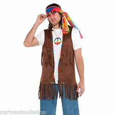 Long Hippie Vest Adults 1960s Hippy Costume Fancy Dress 60s Halloween