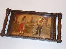signé FEA REICHSHOFFEN ancien PLATEAU TABLEAU en BOIS peinture VINTAGE wood Holz