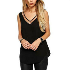 Fashion Womens V-Neck Vest Summer Loose Sleeveless Casual Tank T-Shirt Blouse M