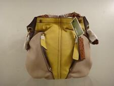 New Oryany 'Victoria' Beige/Yellow Leather Colorblock Shoulder Bag Purse