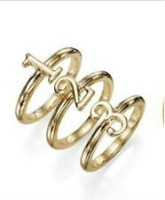 "R1705 Arrival Gold Color Cute Number ""one """"Two""""Three""3pcs Rings Adjustable"