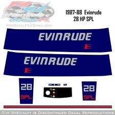 1987-88  Evinrude 28HP SPL Decals Outboard Reproduction 8Piece Marine Vinyl 1988