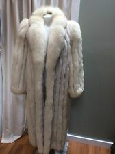 Saga Natural Blue Fox Full Length Women's Fur Coat Sz Small