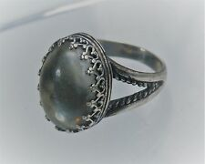 QVC Carolyn Pollack's Relios Sterling Silver Glass Cabochon Oval Ring Sz 7