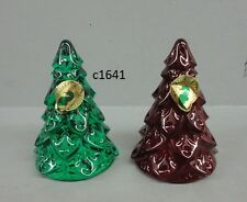 Waterford Crystal CHRISTMAS TREES MINI SCULPTURE red green GIFTOLOGY Set NEW BOX