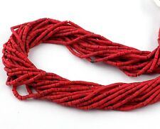 """20 Strands Red Turquoise 1.75X.5mm-2X2.25mm Tiny Heishi Beads Hand Cut 12"""" Bead"""