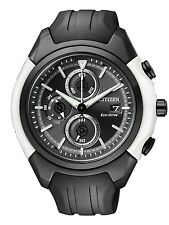 Citizen Eco-Drive Black White Mens Chronograph Watch. Solar Power. CA0286-08E