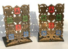 Israel 50s Rare Brass Book Ends 12 Bible Hebrew Tribes of Israel,Antique Judaica
