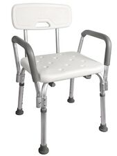Adjustable Medical Shower Chair Bathtub Bench Bath Seat Stool Armrest Back White