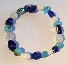 Turquoise Blue & White Different Sized Beads On a Stretch Cord Bracelet Handmade