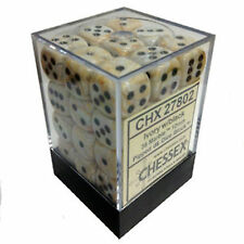 Chessex Dice (36) Block Sets 12mm D6 Marble Ivory w/ Black Pips CHX 27802