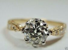 Antique Diamond Engagement Ring Platinum 18K Yellow Gold EGL USA Ring Size 7.75