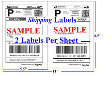 1000 Shipping Labels Self Adhesive 2 Per Sheet 8.5 x 11  USPS UPS PayPal FedEx