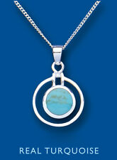 Beautiful Sterling Silver Real Turquoise Round Pendant & Chain 23 x 15mm