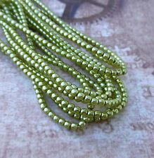 Strand of 150 Faux Pearl Beads Mini Glass Pearls Olivine 2mm PRL02-70457
