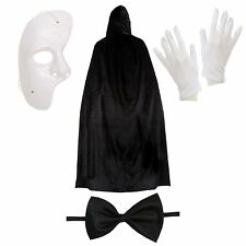 Phantom of the Opera Halloween Fancy Dress Set (Mask, Cape, Gloves, Bow Tie)