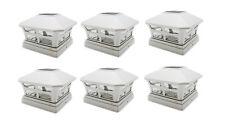 5X5 Off White Outdoor Garden Solar Post Deck Cap Square Fence Lights 6-Pack