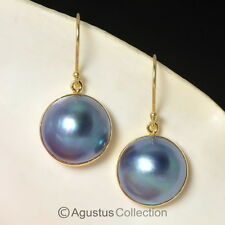 Hook EARRINGS Blue Mabe Pearls & 24K Gold Vermeil over 925 Sterling Silver 4.5 g