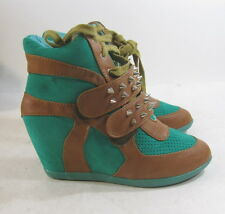 """green/brown spike 3"""" wedge heel round toe ankle boot. front Velcro strap size  7"""