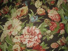 "SCHUMACHER CURTAIN FABRIC ""Ashbourne Peony"" 4.1 METRES CHESTNUT 100% LINEN"