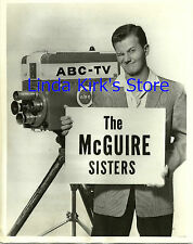 """Pat Boone Promotional Photograph Holding Sign """"The McGuire Sisters"""" ABC-TV 1958"""
