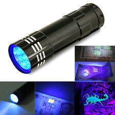 9 LED Mini Black Aluminum UV Ultra Violet Flashlight Blacklight Torch Light Lamp