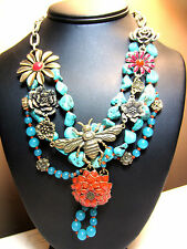 Big LUCKY BRAND Turquoise Coral Statement Insect/Bug Metal Flower NECKLACE