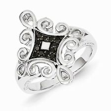 STERLING SILVER .13CT BLACK  DIAMOND SCROLL  RING - SIZE 8