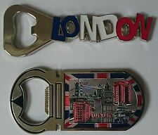Set of 2 London Fridge Magnet Bottle Opener Souvenirs Metallic