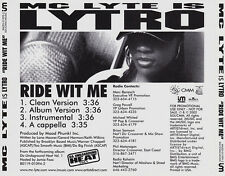 MC Lyte Is Lytro: Ride Wit Me PROMO MUSIC AUDIO CD Clean Instrumental A Cappella