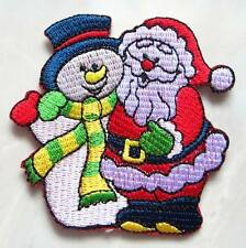 Santa Claus with Snowman Christmas X-Mas Embroidered Iron on Patch Free Postage