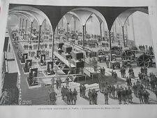Gravure 1889 - Eclairage éléctrique à paris L'usine d'électricité Halles Central