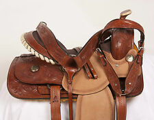 "NEW 15"" CUSTOM BARREL RACING ROUGH OUT WESTERN LEATHER HORSE SADDLE TACK SET"