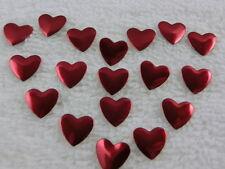 50 Hotfix Metallformen zum aufbügeln Herz Rot 9 mm