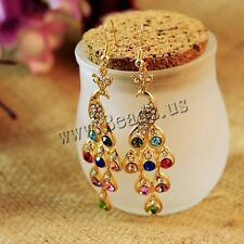 1 Pair Women Fashion Elegant Golden Peacock Rhinestone Dangle Stud Earrings
