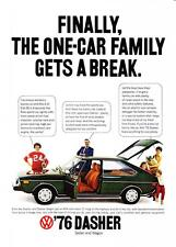 "1976 Volkswagen Dasher Sedan photo ""For The One-Car Family"" promo print ad"