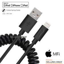 Certified MFI Flex Coiled Spring Lightning to USB Charging Sync Cable iPhone 6S