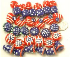 Handmade Lampwork Glass July 4th Patriotic Beads Mixed (36)
