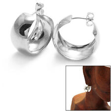 925 Sterling Silver 12mm Wide Cigar Band Design Hoop Post Earrings