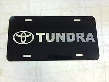 Toyota Tundra Car Tag Diamond Etched on Black Aluminum License Plate