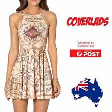 Harry Potter Map Mini Dress Pleated Sexy Cosplay Clubbing Themed - Coverlads
