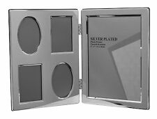 "Silver Plated Double Photo Picture Frame Multi Aperture One 5x7"" & Four 2x3"""
