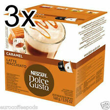 Dolce Gusto Latte Machiato Caramel Coffee  (3 Boxes,Total 48 Capsules )