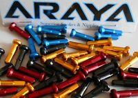 Araya Alloy Nipples, Long Gold or Red. Packs of 36. Brand New. Standard 2mm
