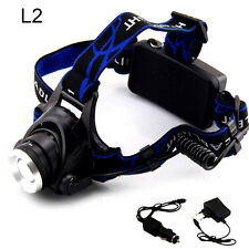 Powerful L2 Led Headlamp Flashlight Torch Zoomable Head Lamp with AC Charger