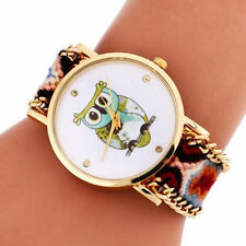 NEW Brown Gold Owl Woven Fabric Bracelet Wrist Watch Ladies Womens Gift Present