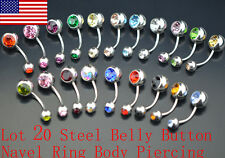 Lot 20 Steel Belly Button Navel Ring Body Piercing