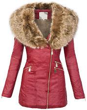 Ladies art leather coat between-seasons jacket women's fur collar winter parka